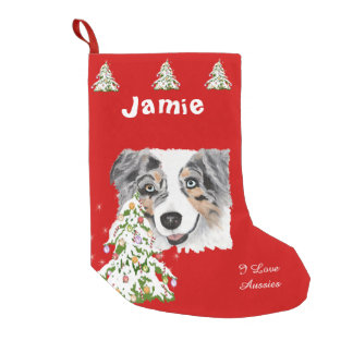 Blue Merle Aussie and Christmas Tree Stocking