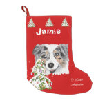 Blue Merle Aussie and Christmas Tree Stocking Small Christmas Stocking
