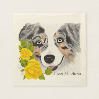 Blue Merle Aussie and Yellow Roses Napkin