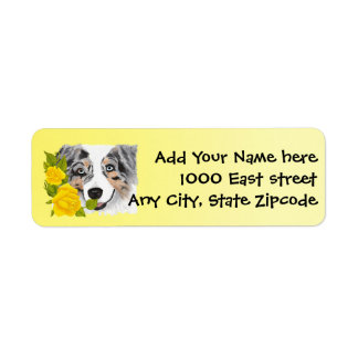 Blue Merle Aussie and Yellow Roses Return Address Label
