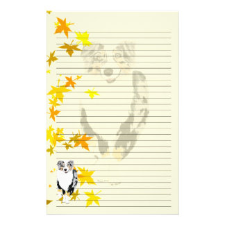 Blue Merle Aussie Falling Leaves Lined Stationery