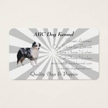 Professional Business Blue Merle Aussie Grey and White Pinwheel Business Card