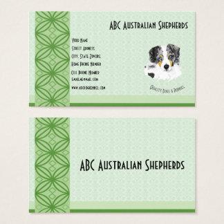 Blue Merle Aussie on Green on Lt Green Business Card