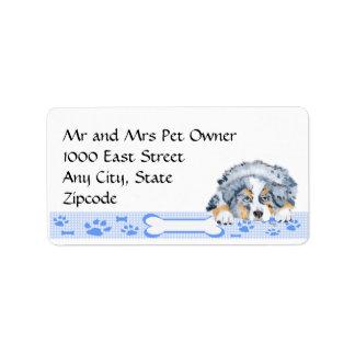 Blue Merle Aussie Puppy on Blue Gingham Address Label
