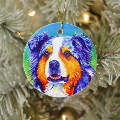 Blue Merle Australian Shepherd Ceramic Ornament