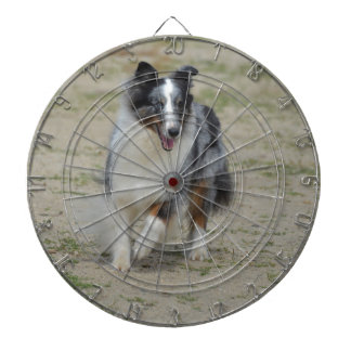 Blue Merle Australian Shepherd Dartboard With Darts