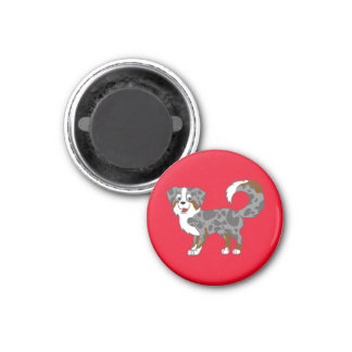 Blue Merle Australian Shepherd Dog 1 Inch Round Magnet