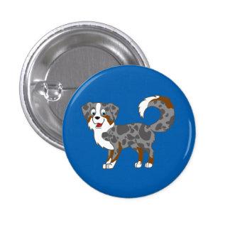 Blue Merle Australian Shepherd Dog Button