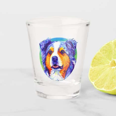 Blue Merle Australian Shepherd Dog Shot Glass