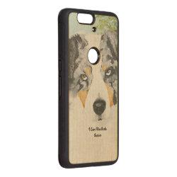 Carved ® Google Nexus 6p Bumper Wood Case with Australian Shepherd Phone Cases design