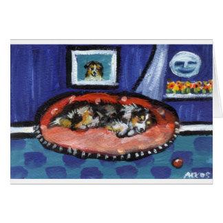 Blue Merle Australian Shepherd in bed Card
