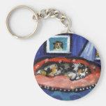 Blue Merle Australian Shepherd in bed Key Chains
