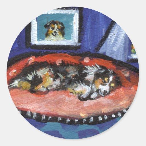 Blue Merle Australian Shepherd in bed Round Stickers