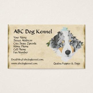 Blue Merle Australian Shepherd on Parchment Business Card