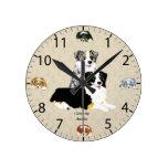 Blue Merle & Black Tri Australian Shepherds Round Clock