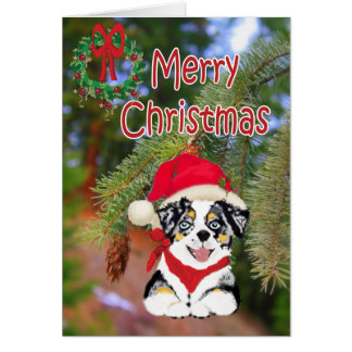 Blue Merle Christmas Aussie Cartoon Puppy Card