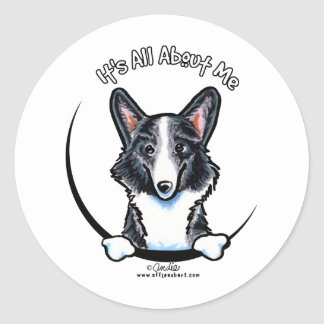 Blue Merle Corgi Its All About Me Classic Round Sticker