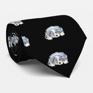 Blue Merle Puppy mens double sided print tie