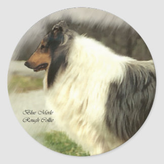 Blue Merle Rough Collie Art Gifts Round Stickers