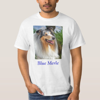 Blue merle Rough Collie dog unisex mens womens tee