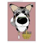 Blue Merle Smooth Collie - Easter Bone Hunt Greeting Card