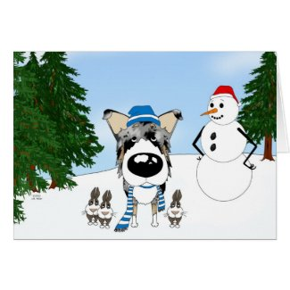 Blue Merle Smooth Collie Winter Snow Greeting Card