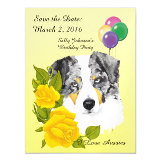 Blue Merle & Yellow Roses Save the Date Magnet Magnetic Invitations