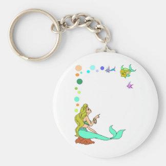 blue mermad, pretty, princess. basic round button keychain