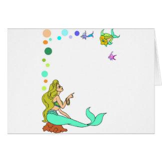 blue mermad, pretty, princess. card