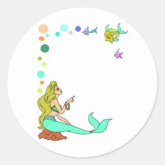 blue mermad, pretty, princess. classic round sticker