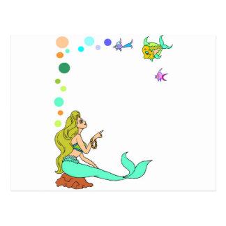 blue mermad, pretty, princess. postcard