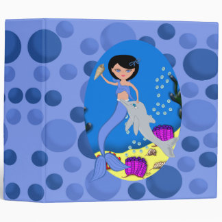 "Blue Mermaid and Dolphin 2"" Avery Binder"