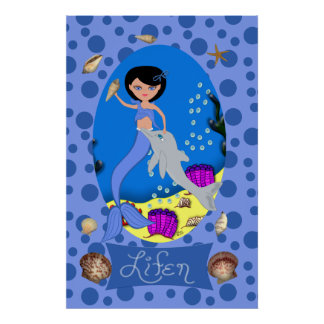Blue Mermaid and Dolphin Print