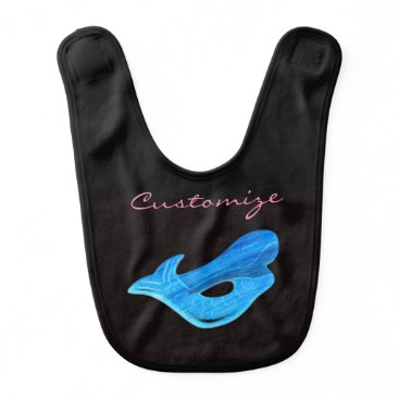 Beach Themed blue mermaid black bib