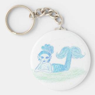 Blue Mermaid by Wendy C. Allen Basic Round Button Keychain