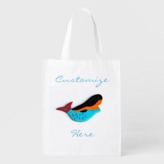 blue mermaid customized grocery bag