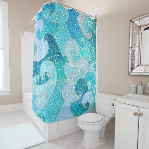 Blue Mermaid Faux Glitter Sea Teal Gold Ocean Shower Curtain