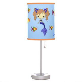 Blue Mermaid Fish Personalized Kids Desk Lamps