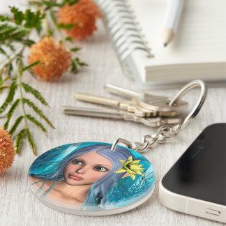 Blue Mermaid Single-Sided Round Acrylic Keychain