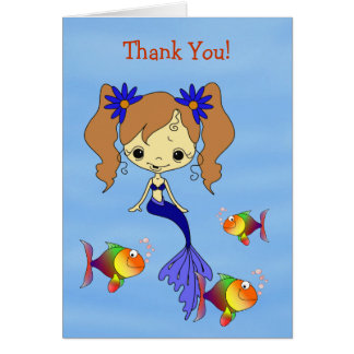 Blue Mermaid Kids Thank You Card