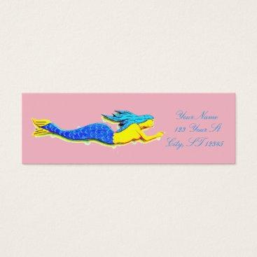 Beach Themed blue mermaid pointing mini business card