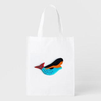 blue mermaid reusable bag