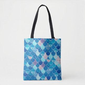 Blue Mermaid Scales Beach Tote Bag