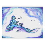 """Blue Mermaid Sitting"" Poster"