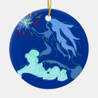 Blue Mermaid Spirit and Stars Ceramic Ornament