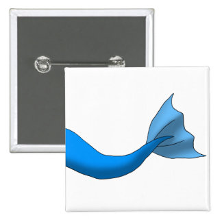 Blue Mermaid Tail Square Pinback Button