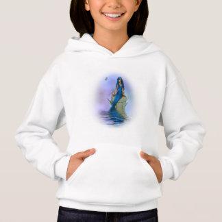 Blue Mermaid White Hoodie