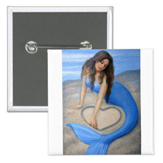 Blue Mermaid's Heart 2 Inch Square Button