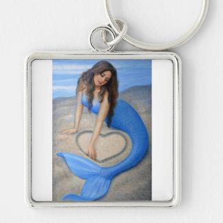 Blue Mermaid's Heart Keychain