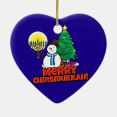 Blue Merry Chrismukkah With Snowman And Menorah Ceramic Ornament at Zazzle